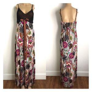 Hale Bob Crochet Floral Long Maxi Dress S